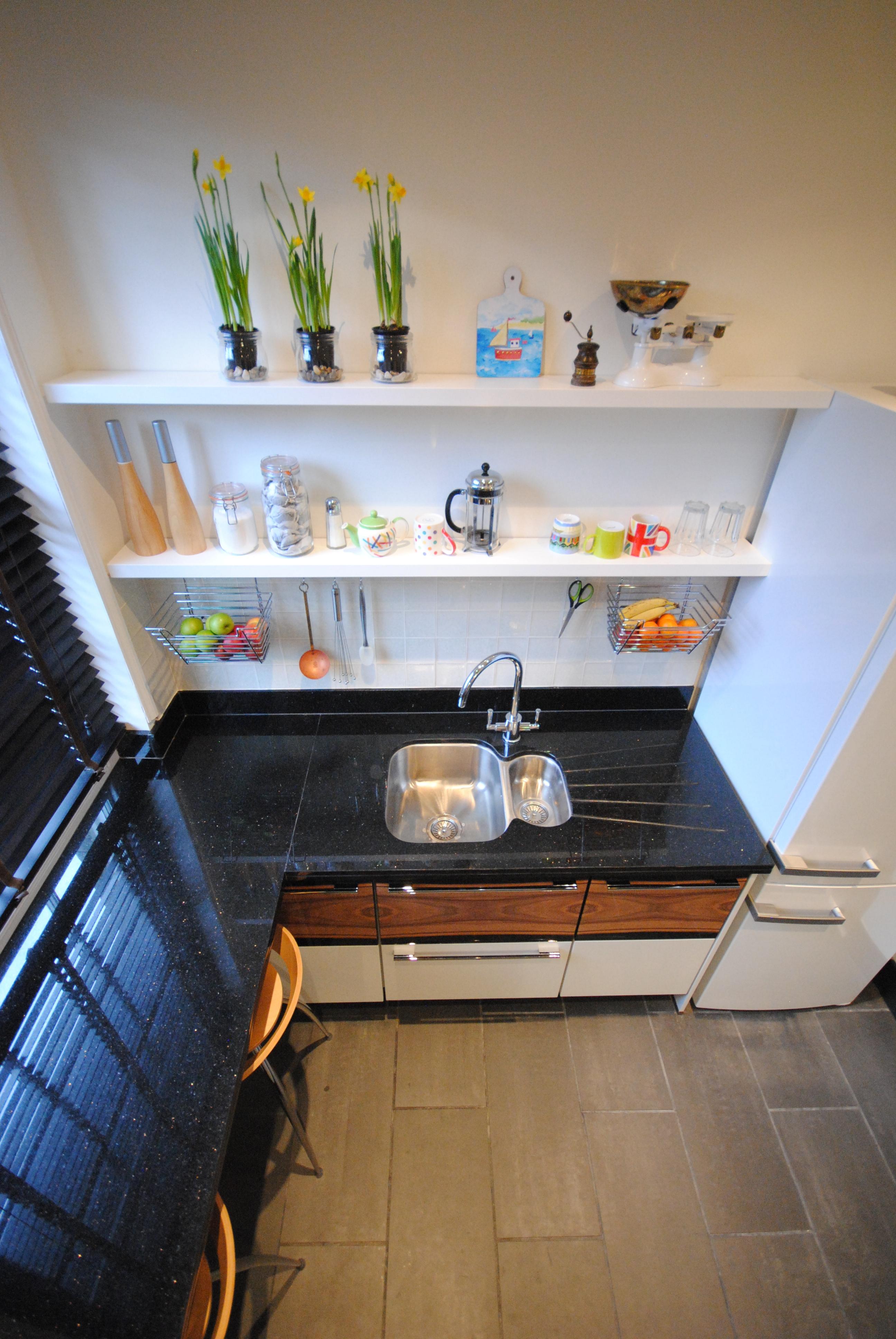 kitchen shelves in white