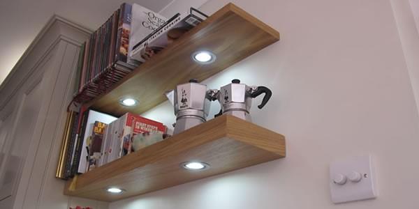 Beech floating shelves