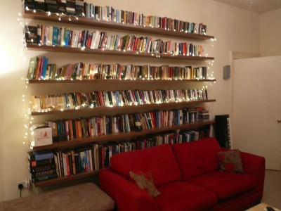 Long  Walnut floating  book shelves