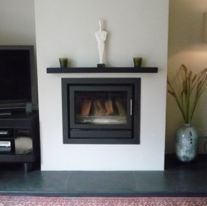 Black floating mantel self