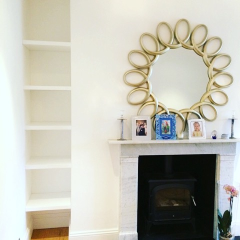 tiny alcove shelving