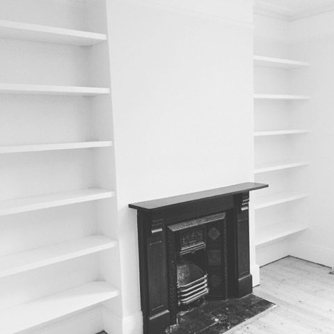 white open alcove shelves