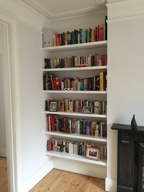 white alcove shelves