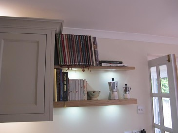 Oak floating shelves with lights 1