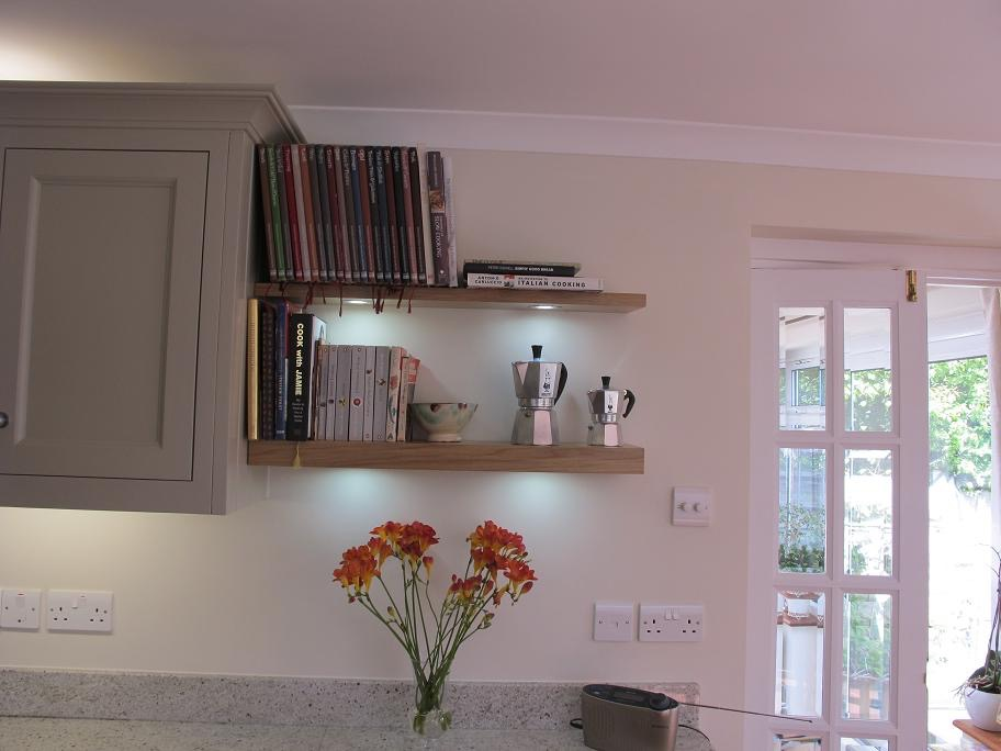 Oak shelves with lights