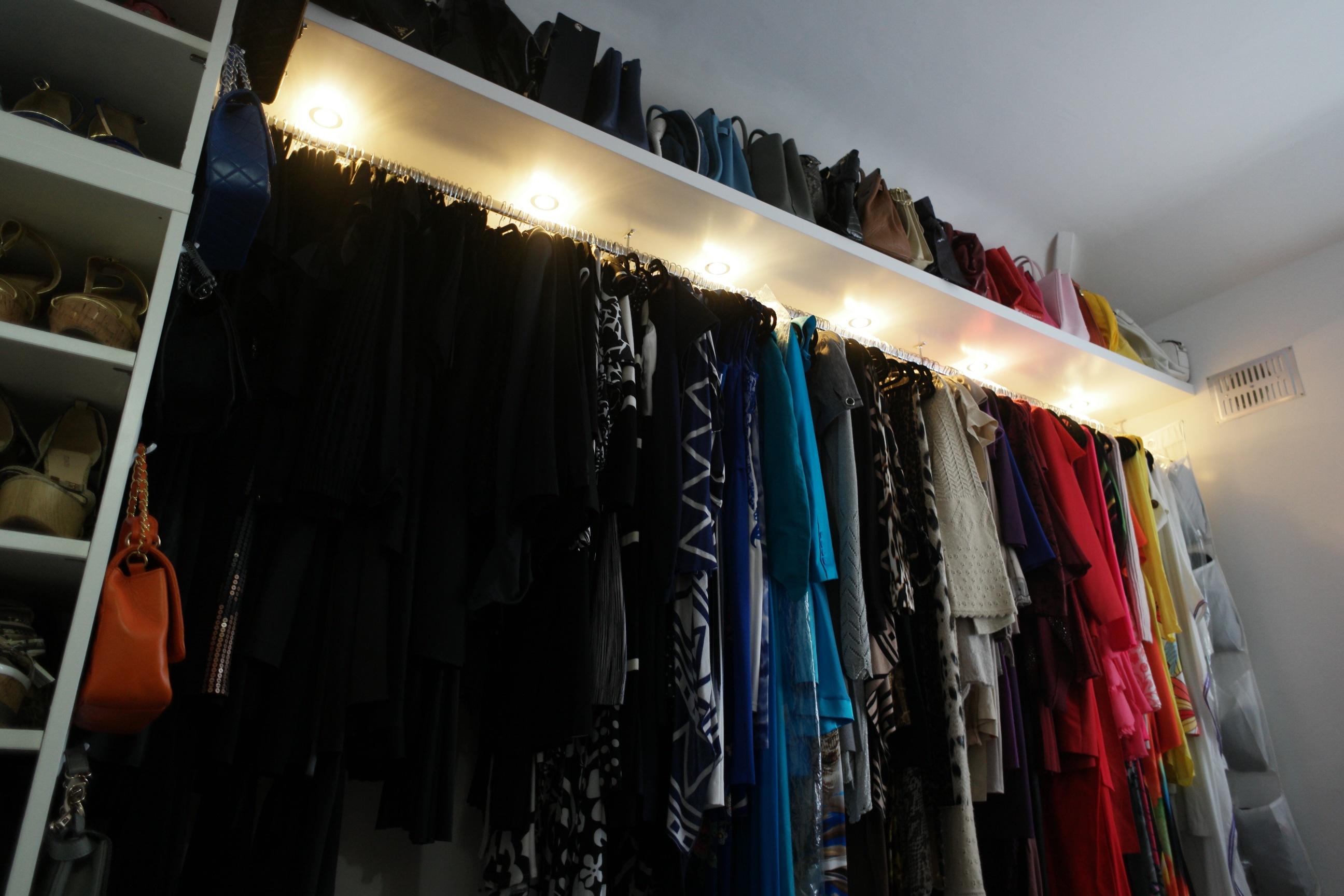 floating shelves with lights