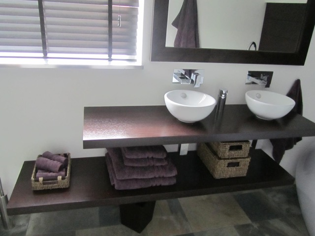 Wenge floating basin shelves