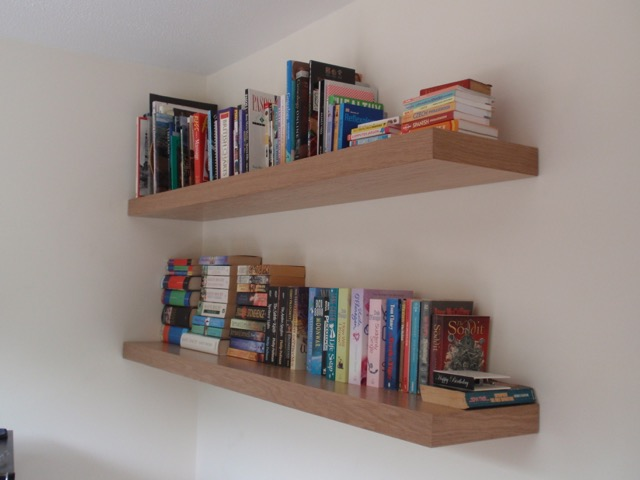 oak floating shelves x 2
