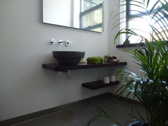 en-suite wenge basin floating shelves