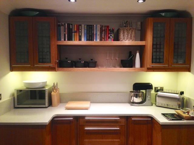 cherry kitchen floating shelves