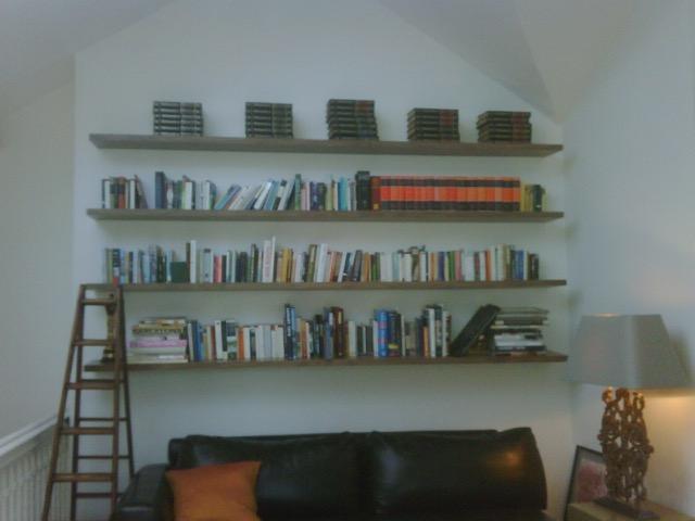 walnut bookshelves
