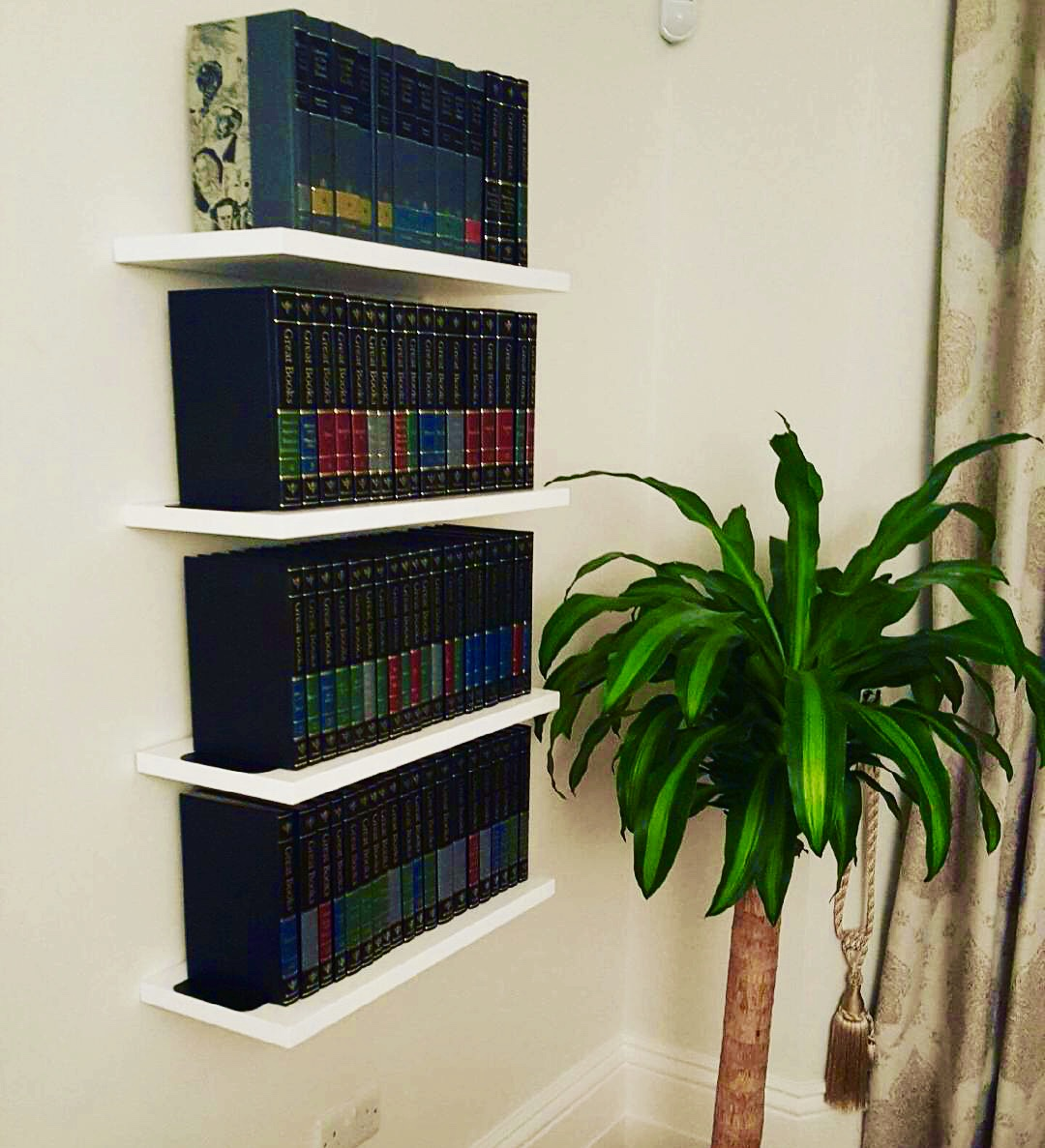 White shelving for books