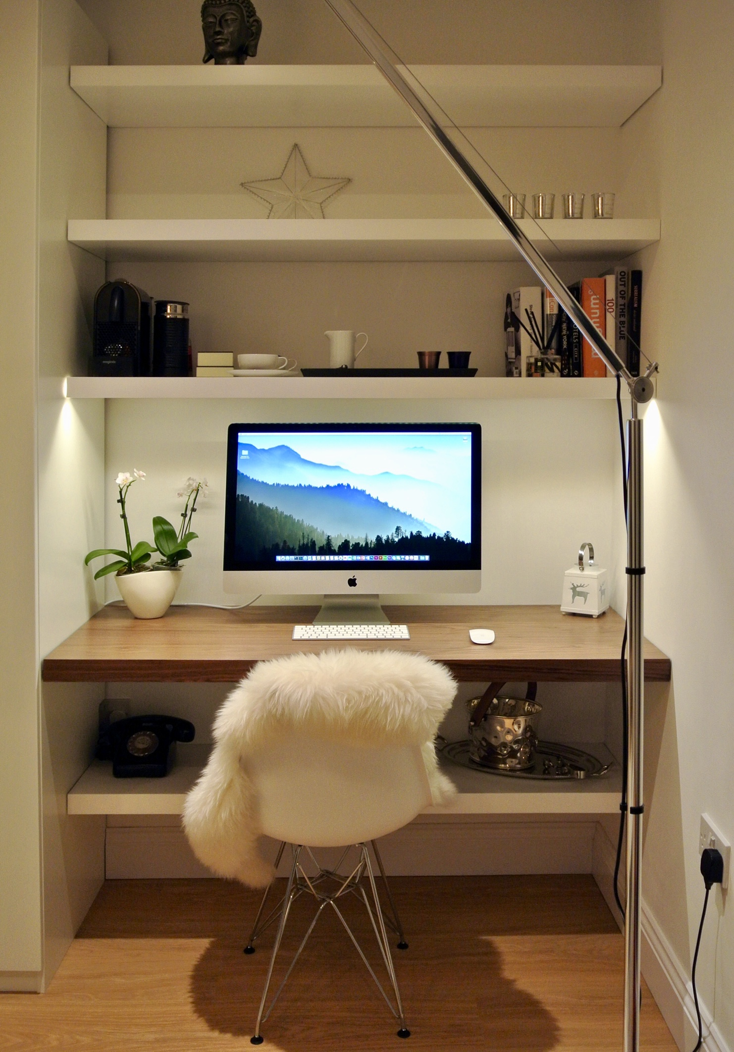 home office floating shelves