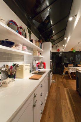 White floating kitchen shelves
