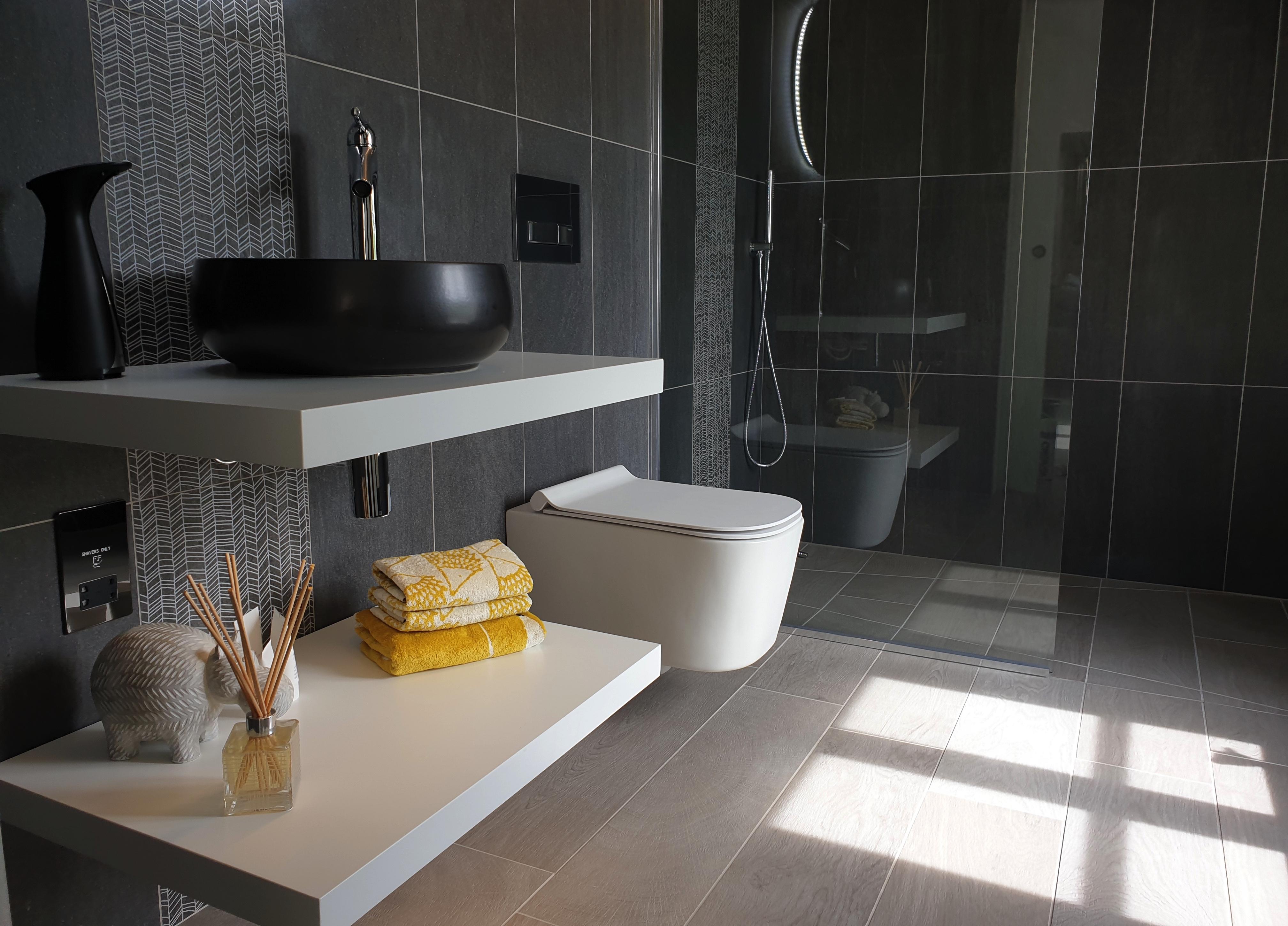 White floating basin shelves