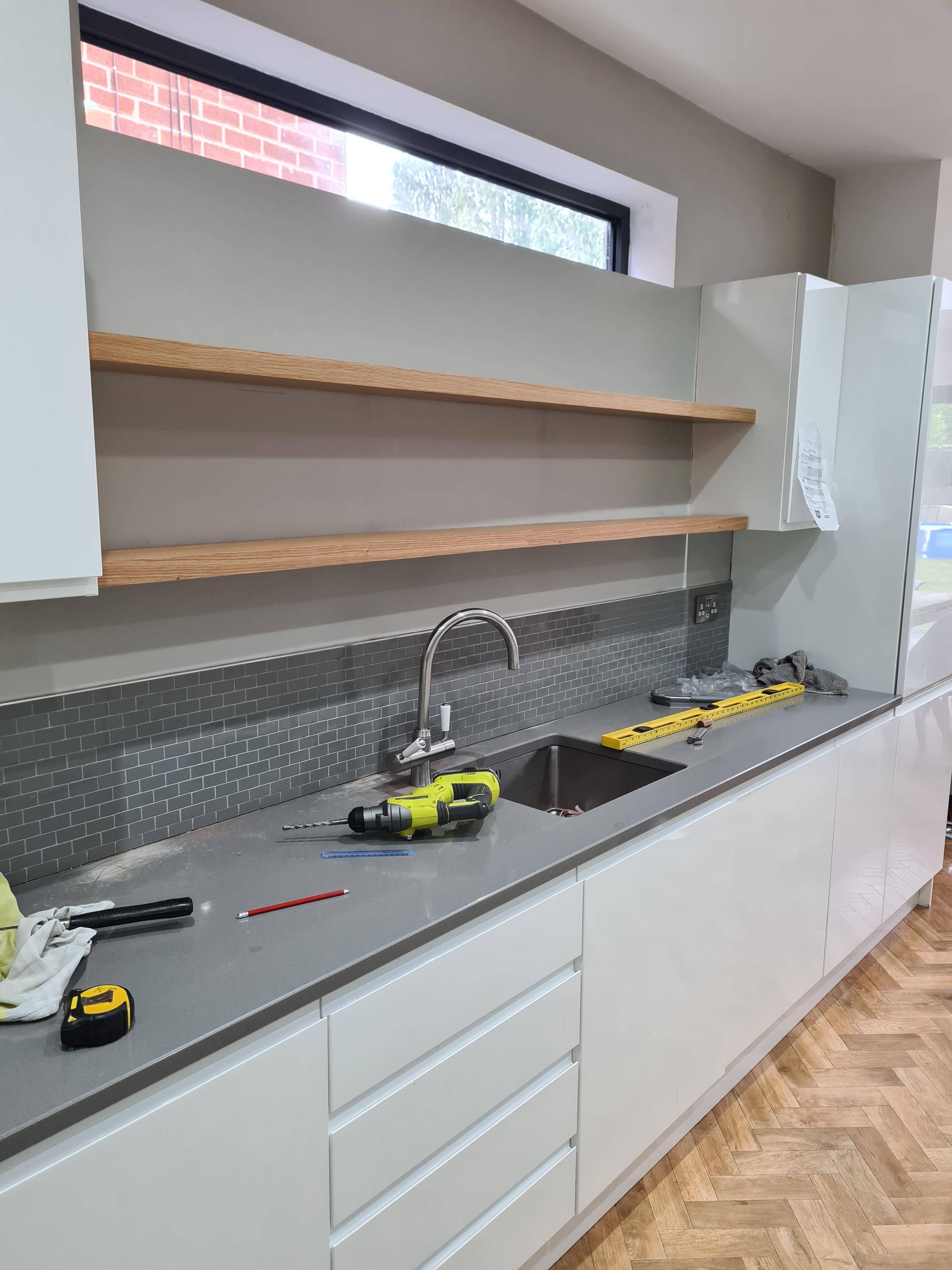 Oak kitchen floating shelves made to measure